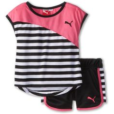 PUMA Little Girls' Black Stripe Short. Cute Girl Outfits, Sporty Outfits, Cute Outfits For Kids, Toddler Fashion, Kids Fashion, Twin Baby Clothes, Striped Shorts, Short Set, Outfit Sets