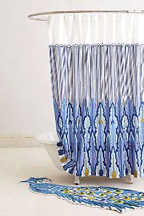 Peacock Shower Curtain Ideas With Smooth Of Fabric Material And Blue Orange Color Combination Design Also Furniture Decoration For Your Home Interior. Anthropologie Uk, Anthropologie Bedding, Peacock Shower Curtain, Shower Curtains, Peacock Bathroom, Textiles, Laundry In Bathroom, Hall Bathroom, Houses