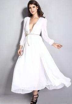 Pure White Layered Sheer Ruffling Jersey Maxi Dress MB6595