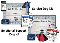 Service Dog and Emotional Support Dog Kits & Registration. Emotional support dogs help individuals with emotional problems by providing comfort and support. Service dogs help with performing a function for a person that is limited by a disability.