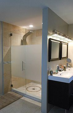 frameless glass shower doors - frosted for privacy