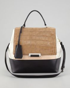 DVF 440 Top-Handle Small Satchel, Tan/Salmon/Black at CUSP.