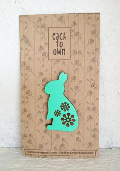 Summer Love Bunny Brooch - Hand Painted Wooden Laser Cut - Mint Turquoise Wood Brooch. $19.00, via Etsy.