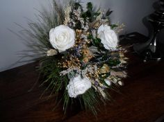 Your place to buy and sell all things handmade Ribbon Bouquet, Dried Flower Bouquet, Dried Flowers, Hessian, Silk Roses, Green Satin, Nigella, White Silk, Fern