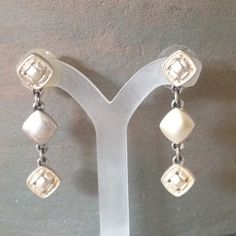 """Matte silver tone earrings Matte silver tone metal dangle earrings. 1 1/2"""" long, very light. Jewelry Earrings"""