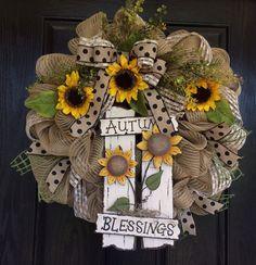 Fall/Autumn wreath, fall deco mesh wreath, sunflower burlap wreath, front door wreath on Etsy, $65.00