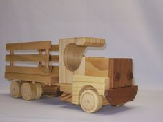Wood toy truck, flatbed/siderail truck