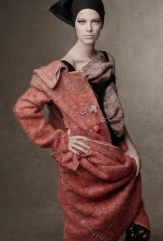 gorgeous wool coat w/ fun/edgy overscale bauble pin closures detail... Vogue Italia, October 2014