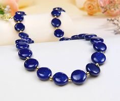 Deep Blue Lapis Gold Over Sterling Silver Necklace