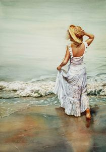 Watercolor lessons – Painting with emotion - Susan Harrison-Tustain Artist Watercolor Artists, Watercolor Paintings, Rose Paintings, Watercolours, Painting Gallery, Art Gallery, Romantic Paintings, Art Themes, Beach Girls