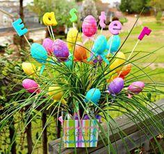 Blumenstrauß Eier Ostern-Frühling Ideen-Farben Accessoires-Garten-design