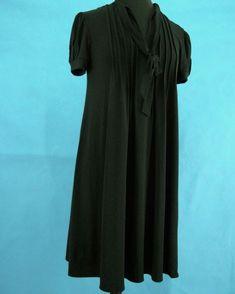 2b32fe5a1e17a Womens Pleated Black Dress 8 London Times V Neck Stretch Mini Babydoll SS  Spring #LONDONTIMES