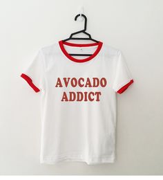Avocado shirt ringer tee funny tshirt graphic tees tumblr teen shirts with sayings Womens printed T-shirts girlfriend gift for her by SpiceTeen on Etsy https://www.etsy.com/listing/280087598/avocado-shirt-ringer-tee-funny-tshirt