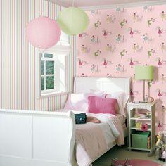 Decoração quarto menina rosa http://papeldeparedeonline.com/2013/03/18/papel-de-parede-infantil-hoopla/