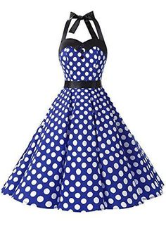Vintage Polka Dot Retro Cocktail Prom Dresses 50's 60's with Rockabilly Bandage