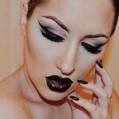Make up / black lipstick / dark lipstick / cat eyes / smokey eyes / eyebrows / Ahh Real Monsters, Vamp Makeup, Black Lipstick, Future Fashion, Smokey Eye, Hair And Nails, Septum Ring, Eyebrows, Halloween Face Makeup