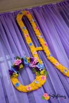 Tangled + Rapunzel Birthday Party via Kara's Party Ideas : Golden Braided Alphabet Backdrop Idea Rapunzel Birthday Party, Tangled Party, Disney Princess Party, 4th Birthday Parties, Princess Birthday, Girl Birthday, Tinkerbell Party, Birthday Crowns, Cinderella Party