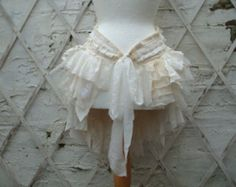 Upcycled Bustle Ivory Cream White  Mori Girl Tattered Woman's Clothing Lace Tribal Cotton Lace  Layers