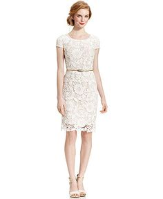 $79 casual or court house dress! Luxology Dress, Cap-Sleeve Belted Crochet Lace - Dresses - Women - Macy's