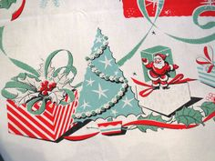 Vintage 1950s Large Atomic Christmas Tablecloth - Turquoise Trees Presents Santa Ornaments - Holiday Table Linens Decor - Mid Century Modern by shabbyshopgirls on Etsy