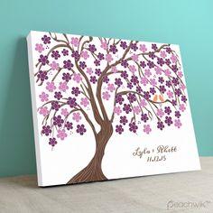 Cherry blossom sakura wedding canvas guestbook art by peachwik