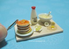 Dollhouse Miniature Pancakes Prep Board by ilovelittlethings on DeviantArt
