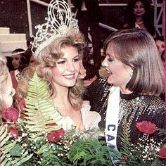 What a beautiful shoot! I guess this is pageants is all about, Irene Sáez, Miss Universe 1981, being congratulated by her first runner up and the big favorite to win the crown, Miss Canada, Dominique Dufour...