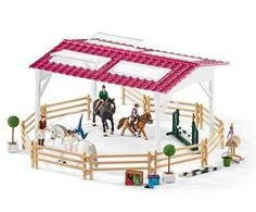 Schleich Horse Club Riding School with Riders & Horses Toy Figure. Riding teacher can hold individual accessories in her hand to feed and brush the horse! Height of obstacle can be adjusted according to riding ability! Lipizzan, Schleich Horses Stable, Horse Stables, Appaloosa, Dressage, Figurine Schleich, Shetland, Riding School, Animals