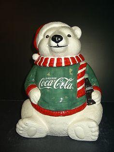 Coca Cola Polar Bear cookie jar green sweater RARE Hard to Find 1995 in box Christmas Cookie Jars, Coca Cola Christmas, Christmas Tea, Rustic Christmas, Teapot Cookies, Bear Cookies, Cute Cookies, Coca Cola Bottles, Pepsi Cola