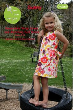 Olive Ann Designs SUNNY Reversible Wrap Dress and Dolldress Sewing Pattern 2-10 ABSD