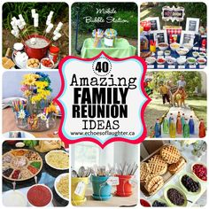 These are mostly theme food presentations:  S'mores bar, Hot Dog bar, etc.  Echoes of Laughter: 40 Amazing Family Reunion Ideas