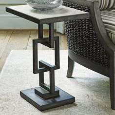 The unique look of the Lexington Home Brands Oyster Bay Deerwood Side Table is sure to be a standout piece. The mahogany top in a distressed, light-wash. Welded Furniture, Iron Furniture, Steel Furniture, Home Decor Furniture, Industrial Furniture, Furniture Design, Industrial Cafe, Industrial Farmhouse, Pallet Furniture