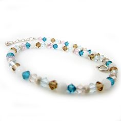 Teal & Topaz crystal anklet pink and teal by EarthlieTreasures, $11.50