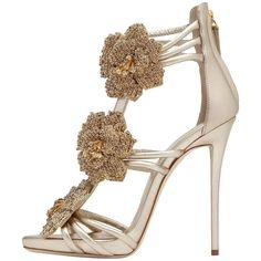 8af2885eda54a Giuseppe Zanotti New Gold Leather Crystal Flower Evening Sandals Heels in  Box