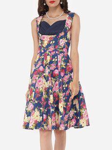 Floral Printed Elegant Sweet Heart Skater-dress