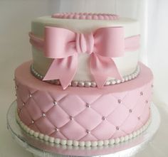 girl baby shower cakes | Quilted Pink and White Baby Shower Cake!