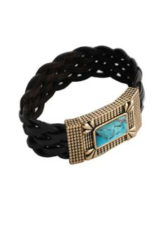 Braided Leather Magnetic Bracelet-Turquoise  Dark brown braided leather and rich cast bronze with a solid magnetic closure is enhanced with a rectangle of genuine turquoise in a refined bracelet with a bit of an edge. • Genuine turquoise • Cast bronze • Fits most wrists