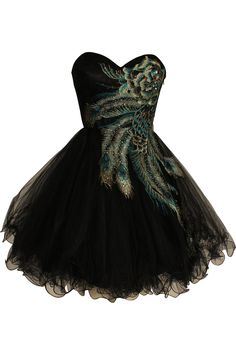 Peacock Ball Gown Sweetheart Knee Length Tulle Homecoming/Cocktial Dress With Embroidery