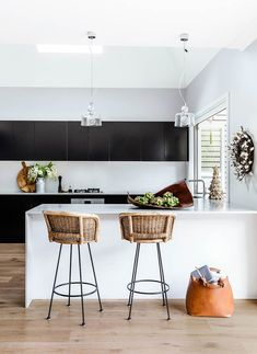 This simple, contemporary kitchen with bar stools and glass pendant lights is a serene space to spend time Home Decor Kitchen, Kitchen Interior, Home Kitchens, Kitchen Stools, Bar Stools, Australian Homes, Contemporary Interior Design, Kitchen Contemporary, Contemporary Homes