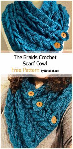 The Braids Crochet Scarf Cowl - Crochetaholic Crochet Braids, Crochet Scarves, Crochet Clothes, Crochet Cowl Free Pattern, Free Crochet, Knit Crochet, Crochet Slippers, Crochet Patterns For Beginners, Easy Crochet Patterns