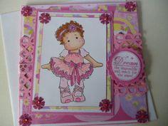 Dreams Magnolia ( Tilda)Ballerina  greeting Handmade card 3D~Hand coloured -Girl