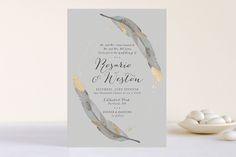 Dipped Feathers Foil-Pressed Wedding Invitations by Pistols at minted.com
