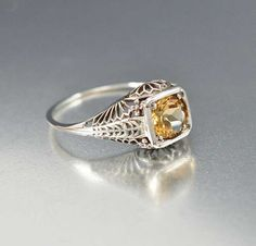 Citrine Ring Unique Engagement Ring Sterling Silver by boylerpf