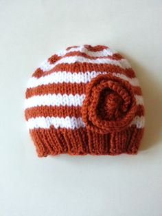 Baby girl or child's  knitted Texas Longhorns hat with knitted flower