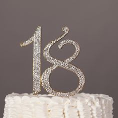 18 Cake Topper - 18th Birthday Gold Number Decoration Get the Best for the Best: With such a momentous occasion, it's worth the splurge. With its sparkles and metal setting, this piece makes the perfe