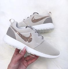 newest cd2c3 77fe1 Nike Roshe One - Light Orewood Brown customized with Rose Gold SWAROVSKI®  Xirius Rose-Cut Crystals