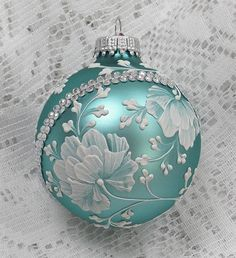Soft Turquoise Hand Painted White 3D Floral Texture Design with Bling 323 by MargotTheMUDLady on Etsy SOLD!