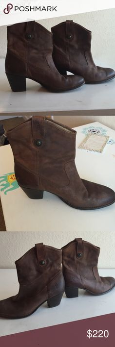 Frye boots Super cute Frye boots! Short heel and comes up about 3 or 4 inches above the ankle. I've only worn them once. The leather appears worn because that's how most Frye boots are made. A quick buff would fix that if you don't like that look. Less on Ⓜ️ Jackie style Frye Shoes Ankle Boots & Booties
