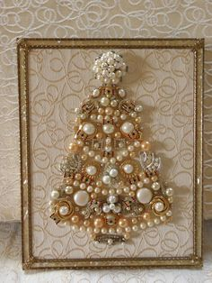"""One-of-a-Kind Framed Vintage Jewelry Art Christmas Tree Handcrafted """"Pearls - Rhinestones - Bows"""" Costume Jewelry Crafts, Vintage Jewelry Crafts, Recycled Jewelry, Vintage Costume Jewelry, Jeweled Christmas Trees, Christmas Tree Art, Christmas Jewelry, Christmas Frames, Jewelry Frames"""