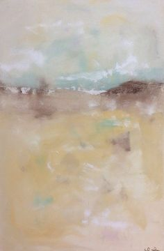 Neutral Abstract Coastal Seascape Painting Beach by lindadonohue, $430.00